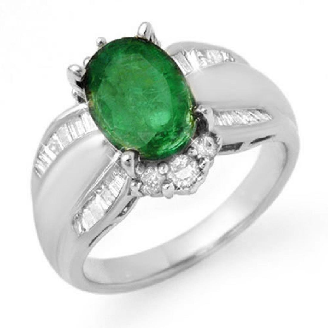 2.87 CTW Emerald & Diamond Ring 18K White Gold