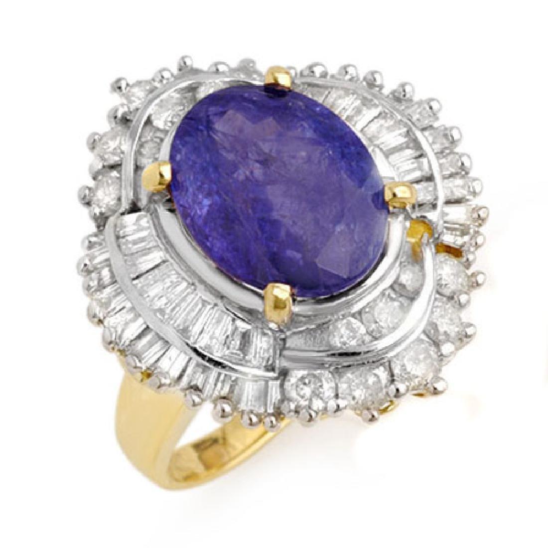 6.0 CTW Tanzanite & Diamond Ring 14K Yellow Gold
