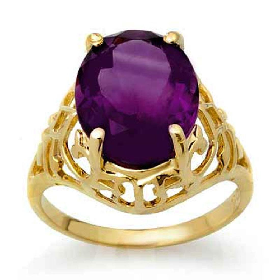 4.50 CTW Amethyst Ring 10K Yellow Gold