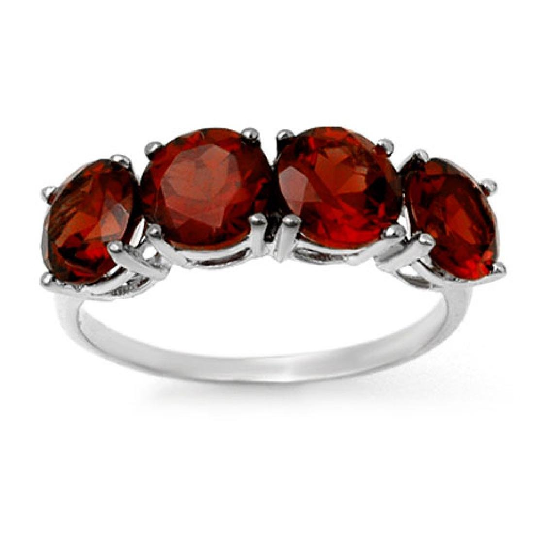 3.66 CTW Garnet Ring 10K White Gold