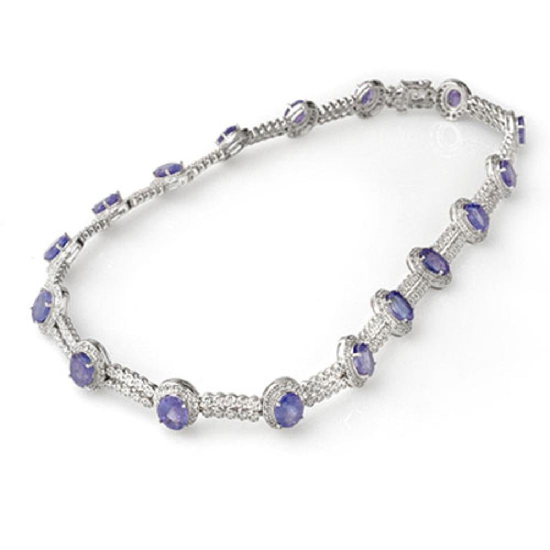45.0 CTW Tanzanite & Diamond Necklace 14K White Gold