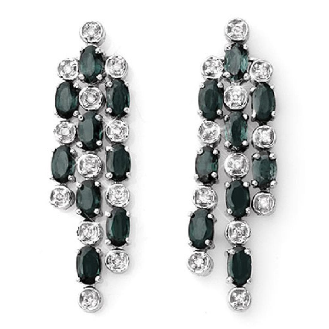 6.33 CTW Blue Sapphire & Diamond Earrings 14K White