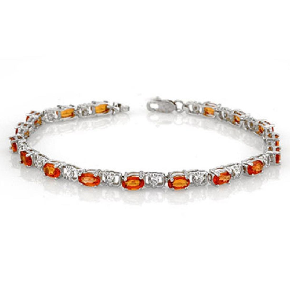 6.02 CTW Orange Sapphire & Diamond Bracelet 14K White