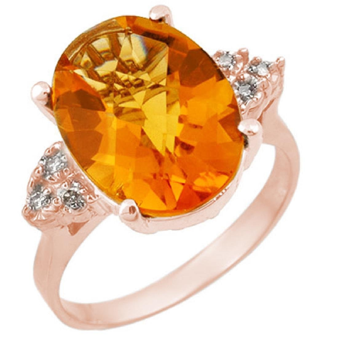 5.10 CTW Citrine & Diamond Ring 10K Rose Gold