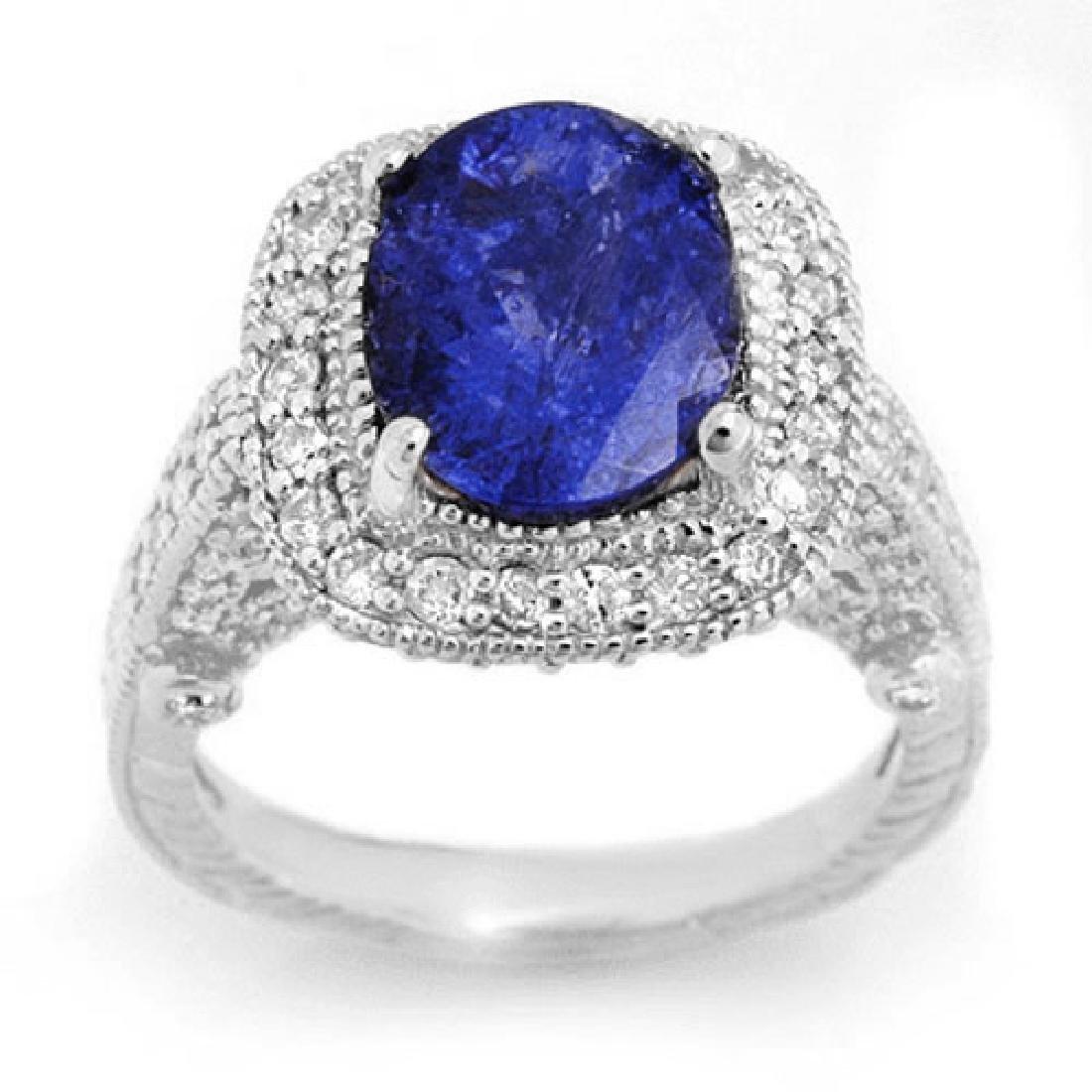5.40 CTW Tanzanite & Diamond Ring 14K White Gold