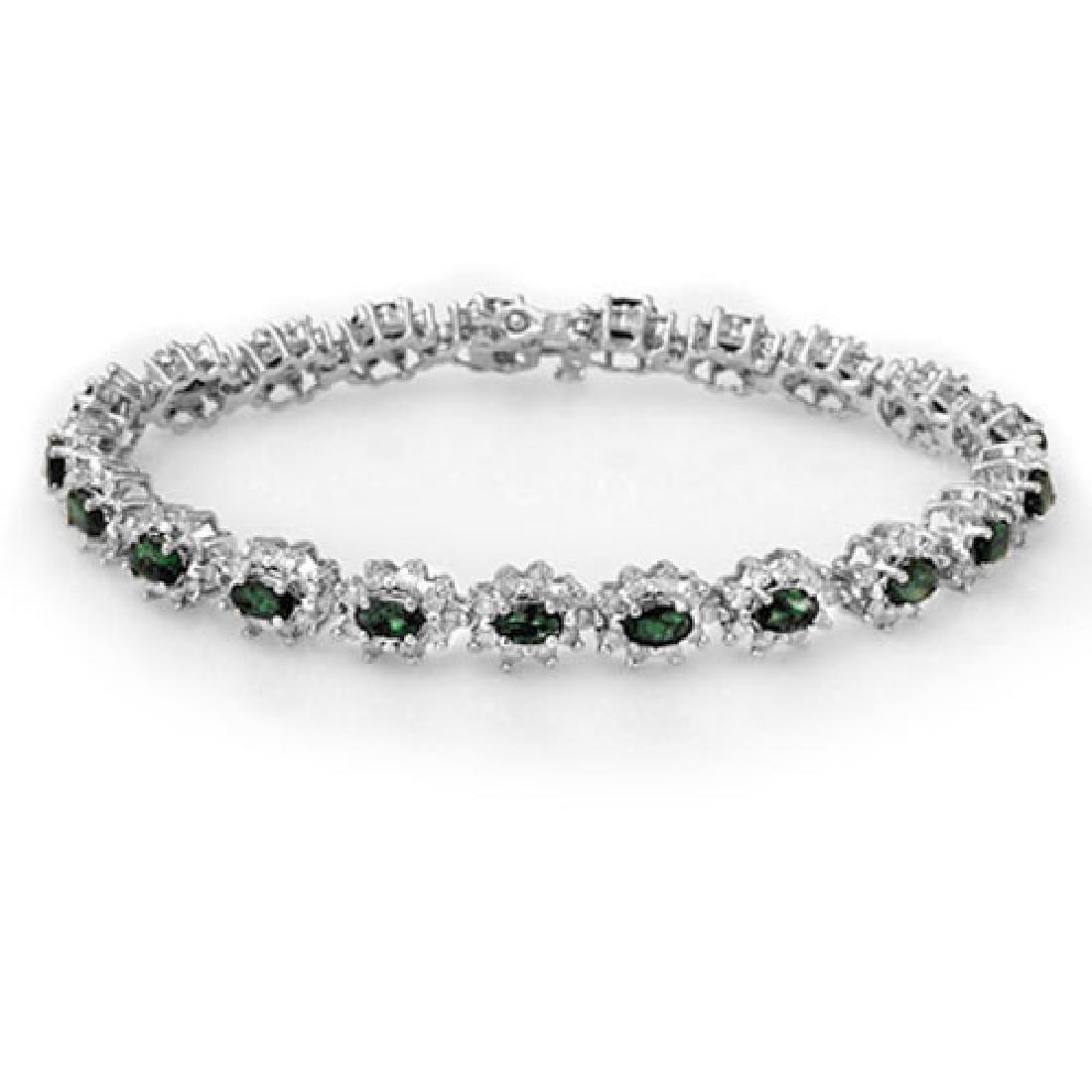 9.42 CTW Emerald & Diamond Bracelet 18K White Gold