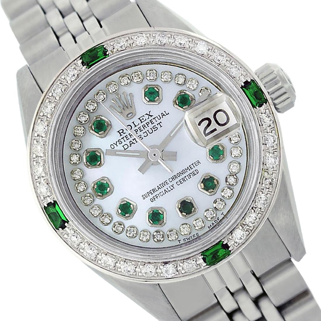 Rolex Ladies Stainless Steel, Diam/Emerald Dial &