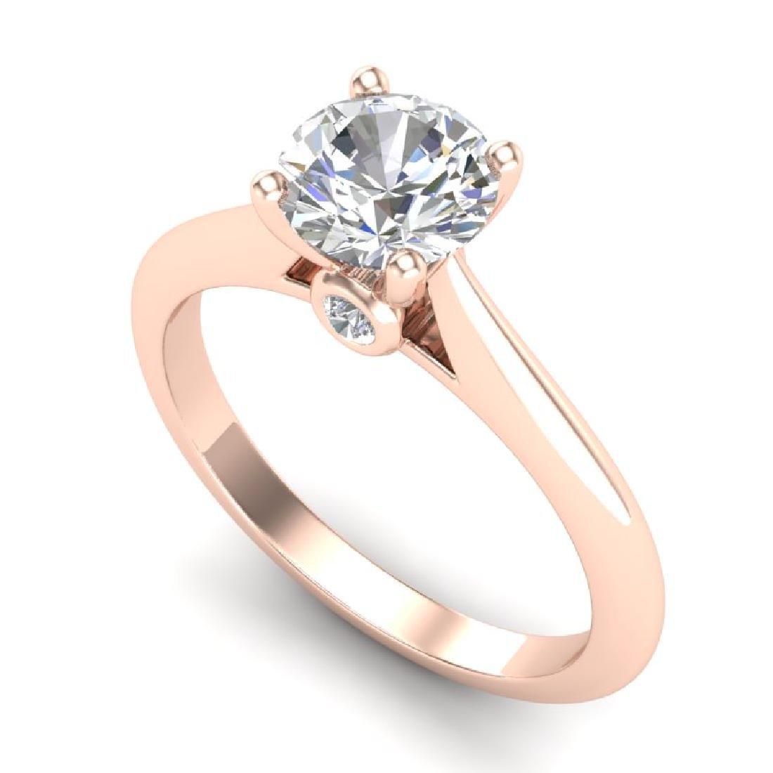 1.08 CTW VS/SI Diamond Solitaire Art Deco Ring 18K Rose