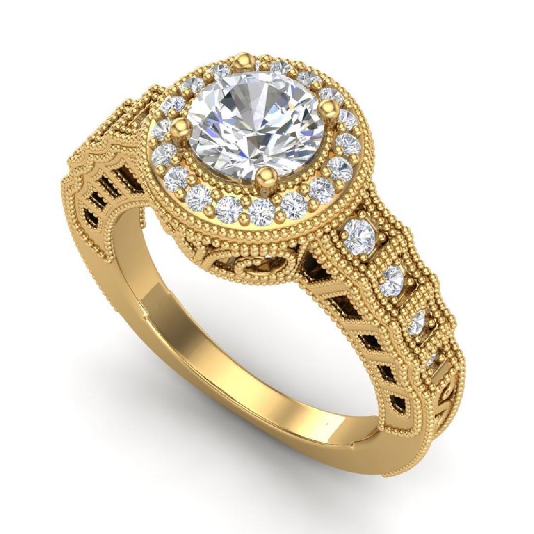1.53 CTW VS/SI Diamond Art Deco Ring 18K Yellow Gold