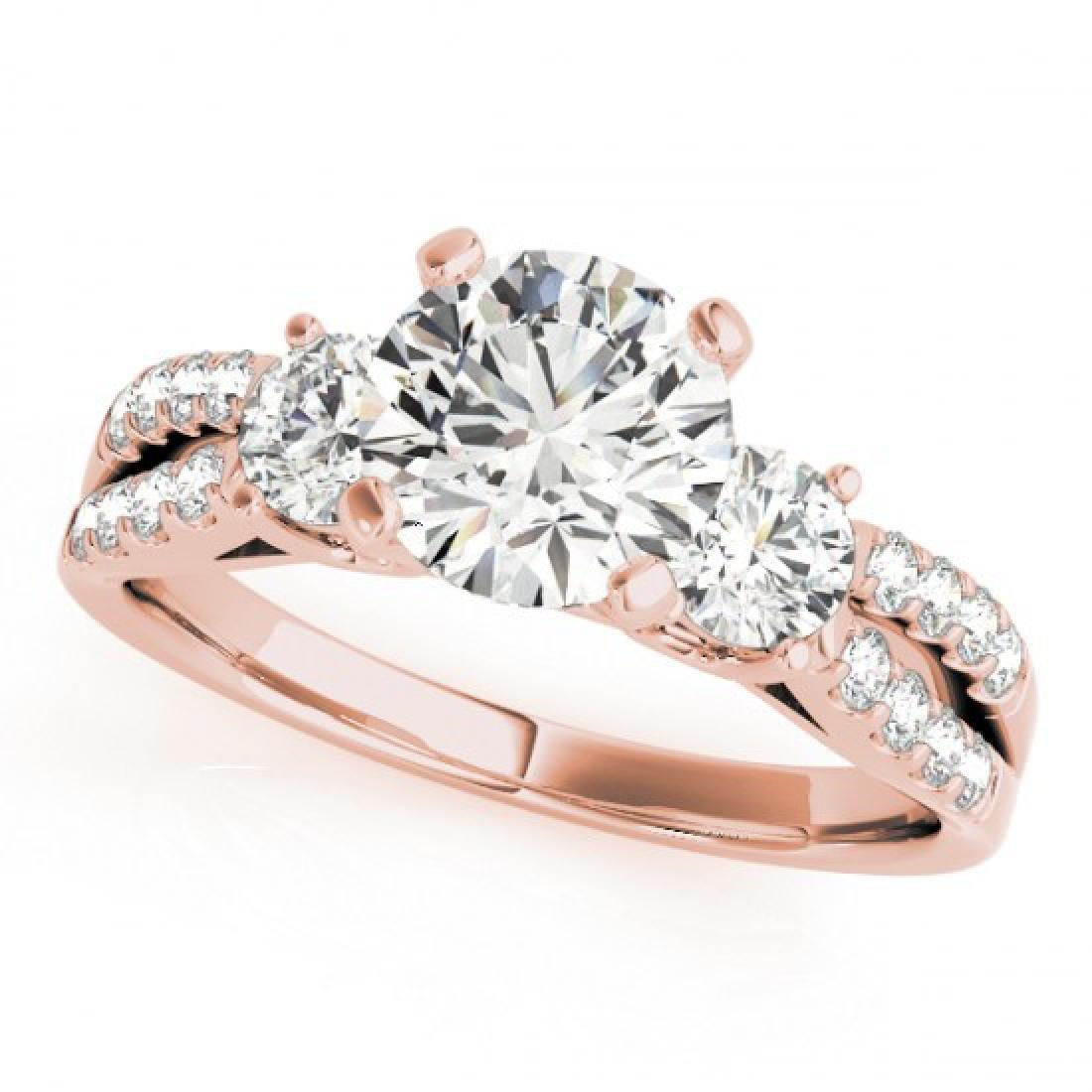 1.75 CTW Certified VS/SI Diamond 3 Stone Ring 18K Rose