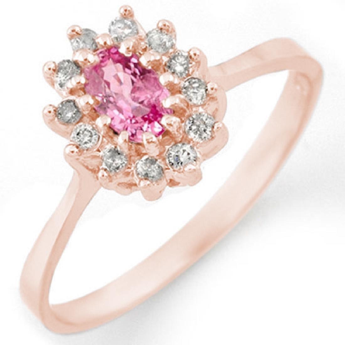 0.60 CTW Pink Sapphire & Diamond Ring 14K Rose Gold