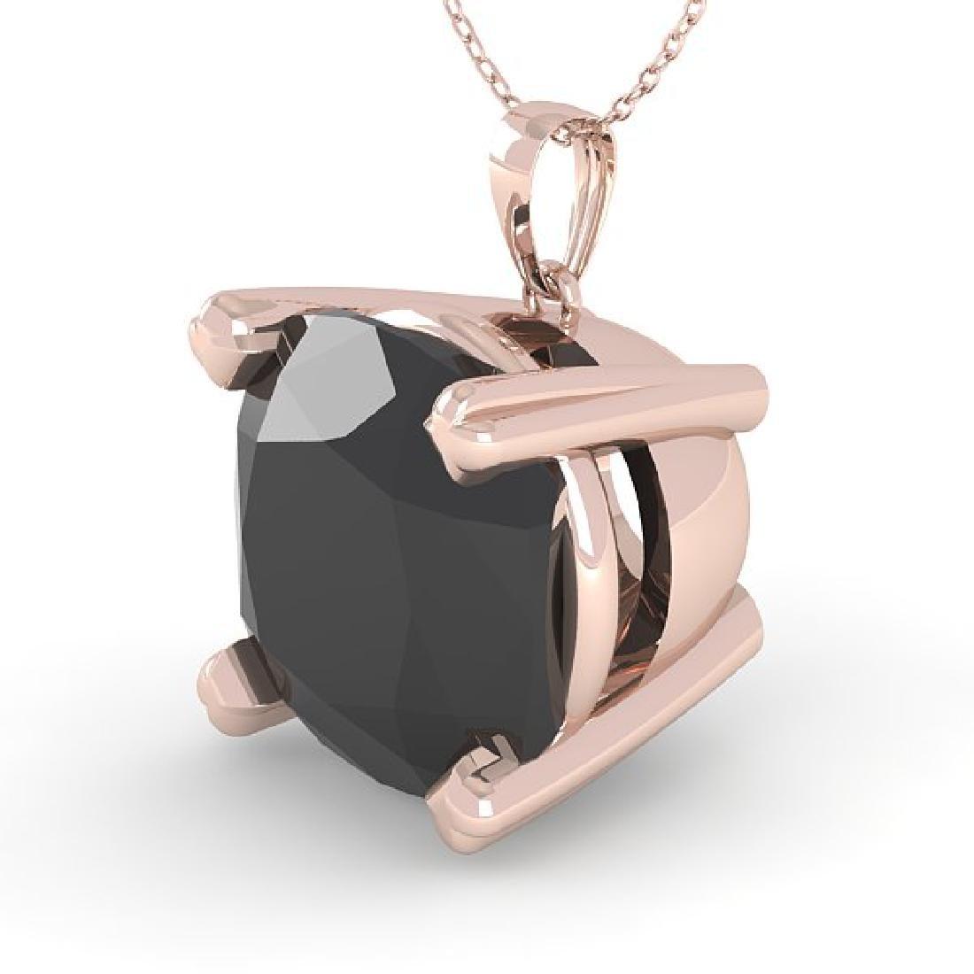 6.0 CTW Cushion Black Diamond Designer Necklace 18K