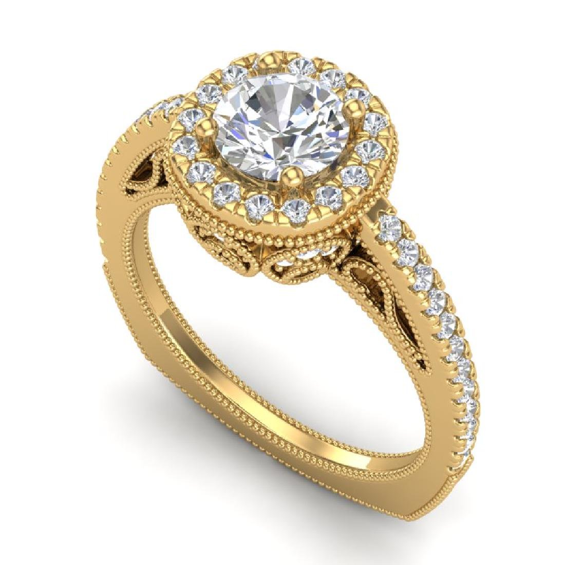 1.55 CTW VS/SI Diamond Solitaire Art Deco Ring 18K