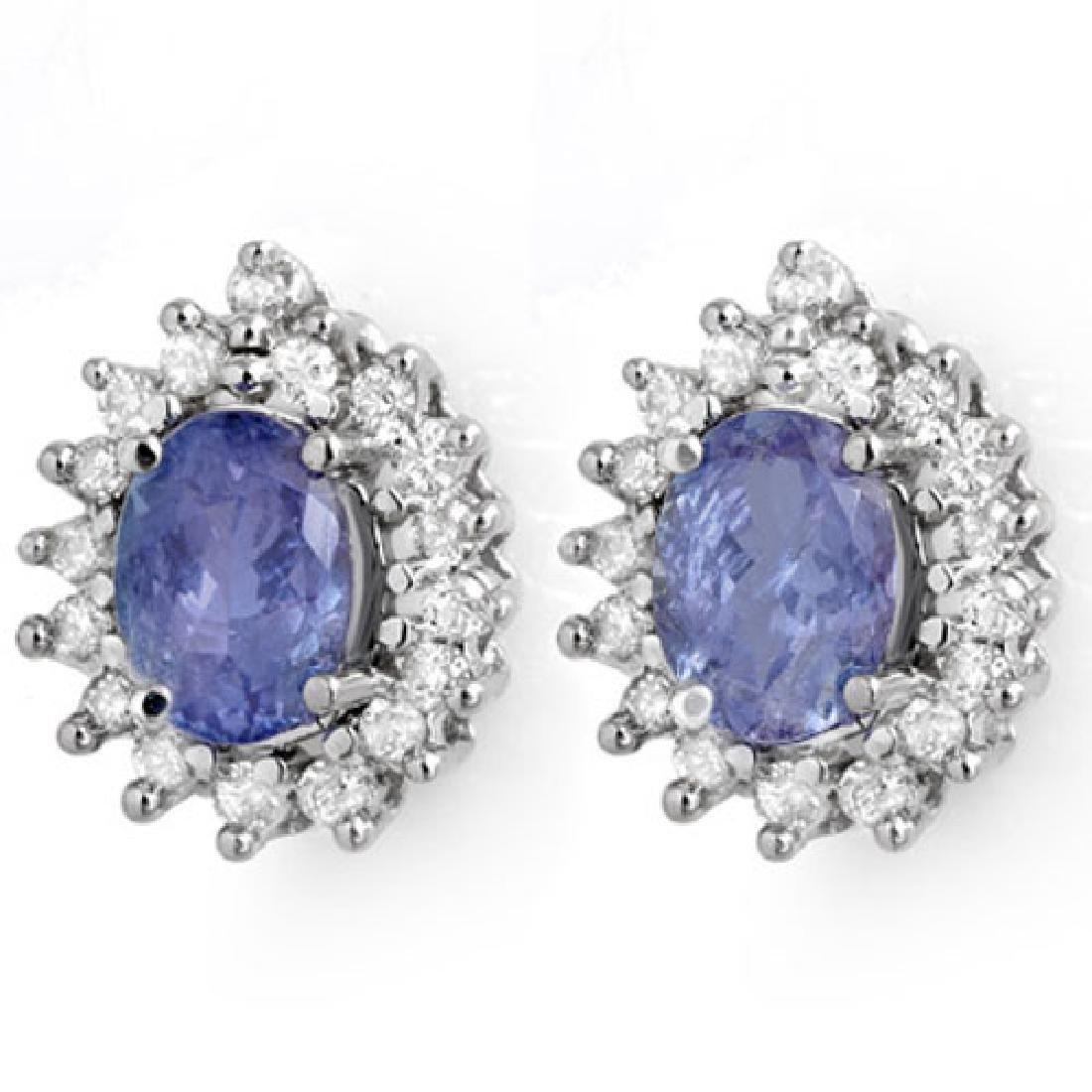 3.63 CTW Tanzanite & Diamond Earrings 14K White Gold