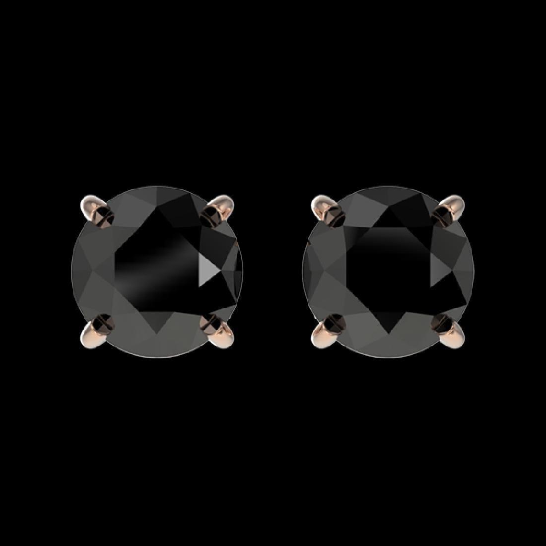 1 CTW Fancy Black VS Diamond Solitaire Stud Earrings