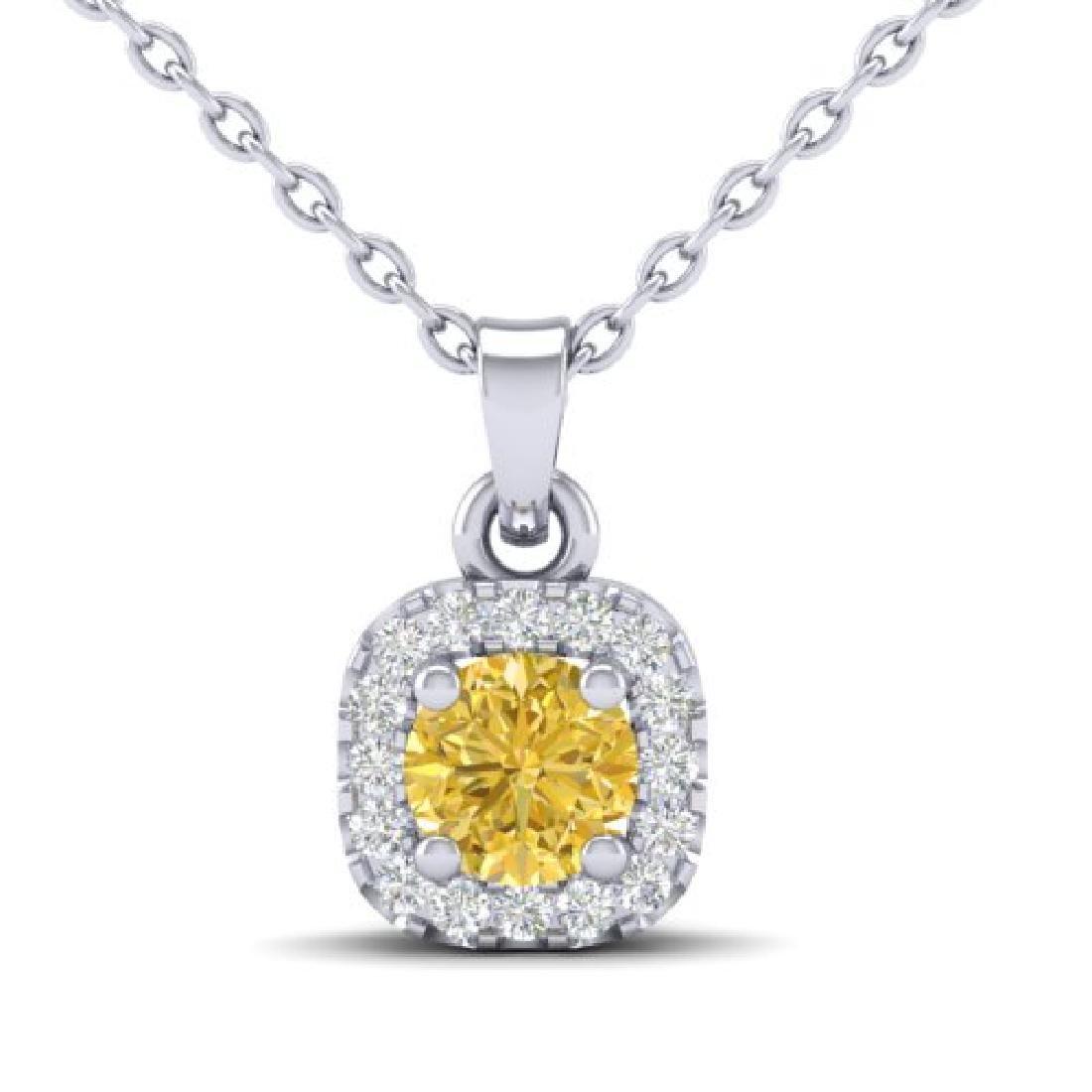 0.38 CTW Citrine & Micro VS/SI Diamond Heart Necklace