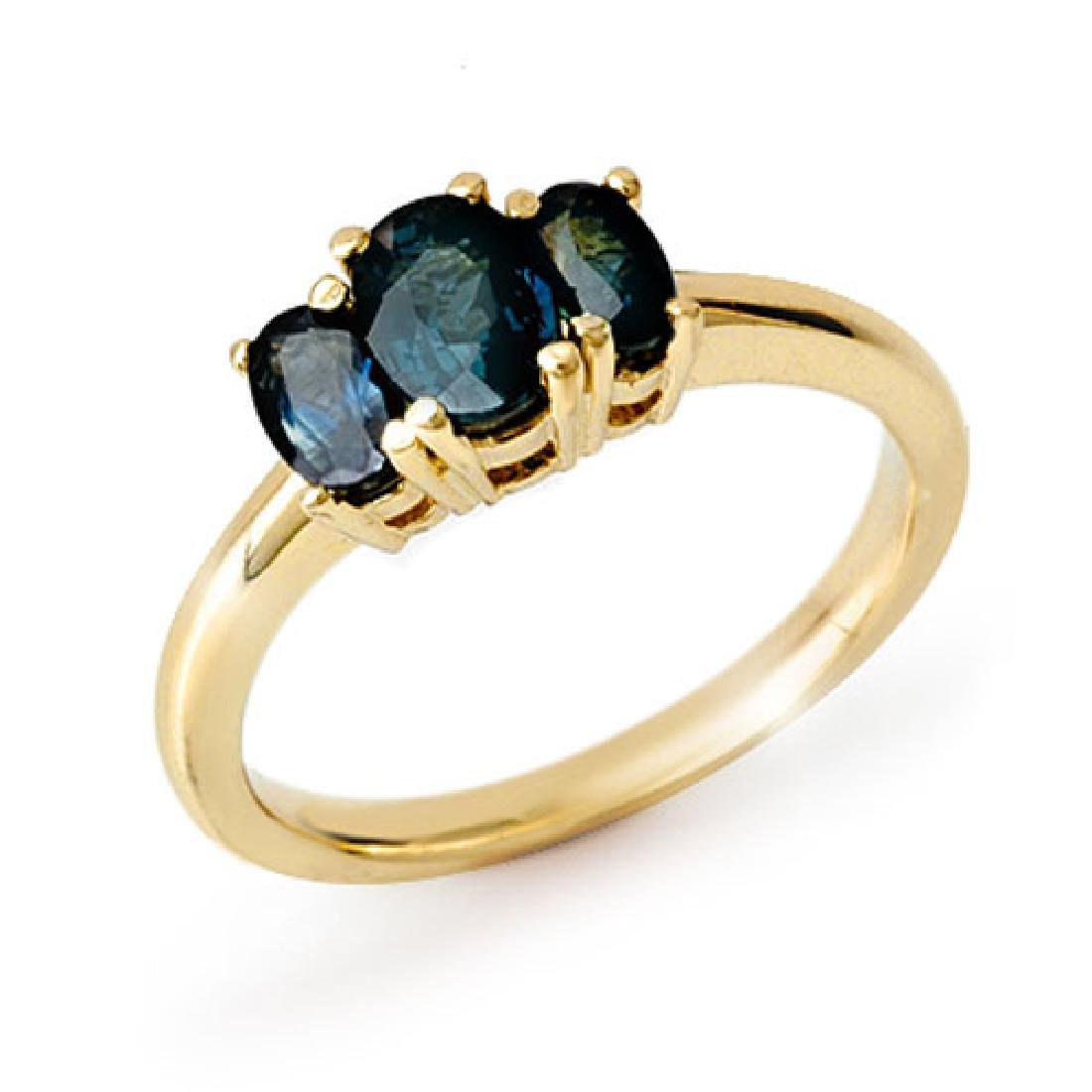 1.0 CTW Blue Sapphire Ring 10K Yellow Gold