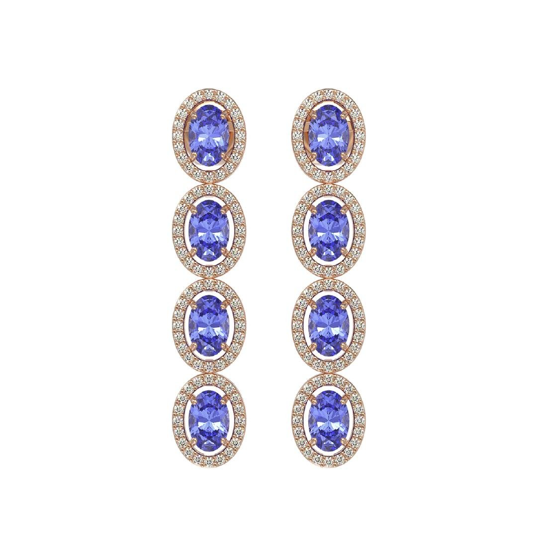 6.09 CTW Tanzanite & Diamond Halo Earrings 10K Rose