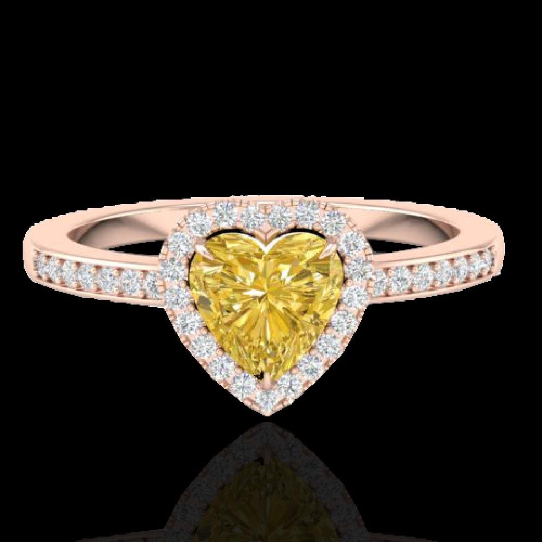 1 CTW Citrine & Micro Pave Ring Heart Halo 14K Rose