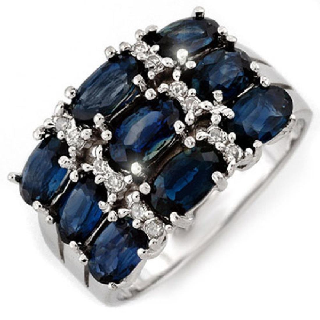 3.15 CTW Blue Sapphire & Diamond Ring 18K White Gold