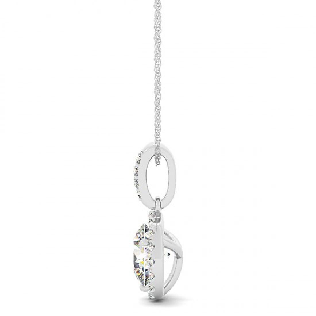 1.5 CTW VS/SI Diamond Solitaire Halo Necklace 14K White