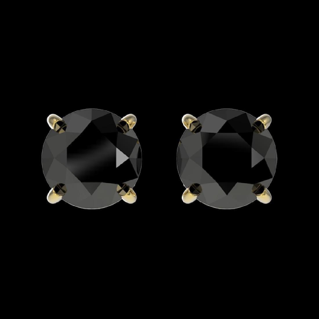 1.05 CTW Fancy Black VS Diamond Solitaire Stud Earrings
