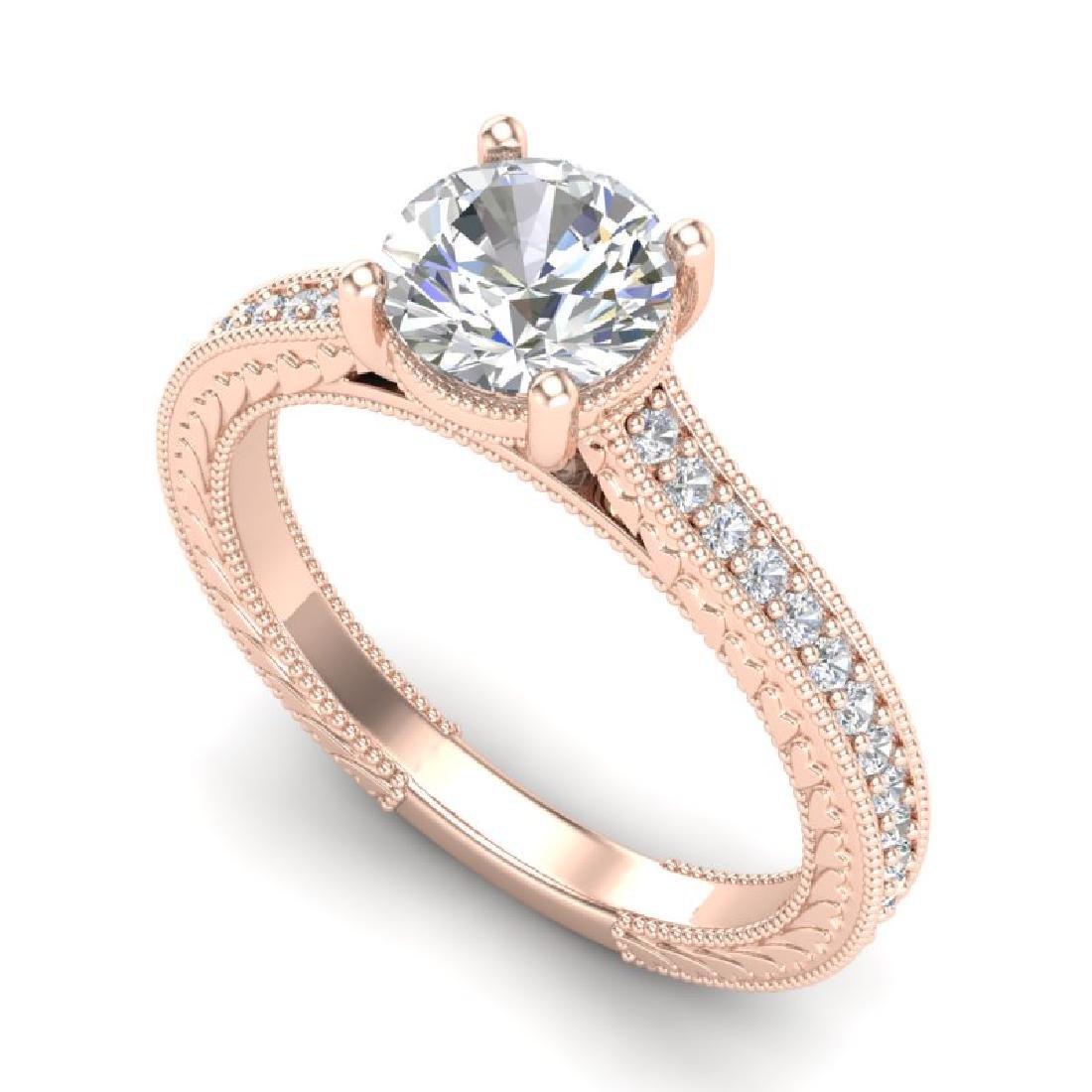 1.45 CTW VS/SI Diamond Solitaire Art Deco Ring 18K Rose