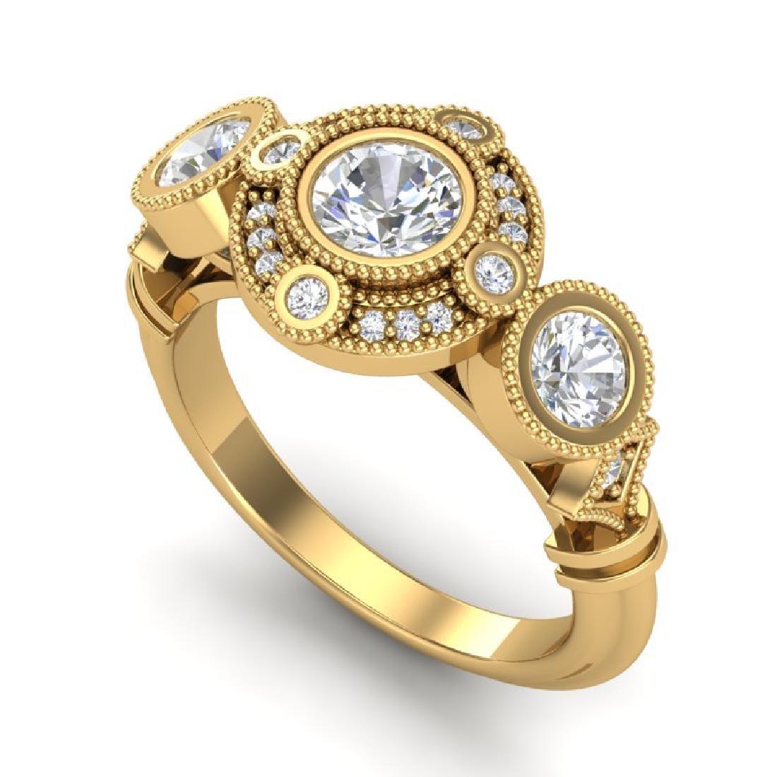 1.51 CTW VS/SI Diamond Solitaire Art Deco 3 Stone Ring