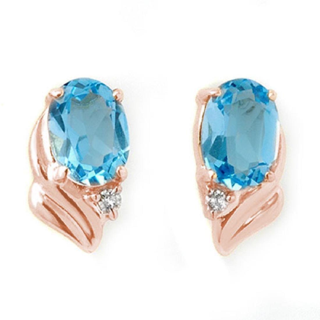 1.23 CTW Blue Topaz & Diamond Earrings 14K Rose Gold