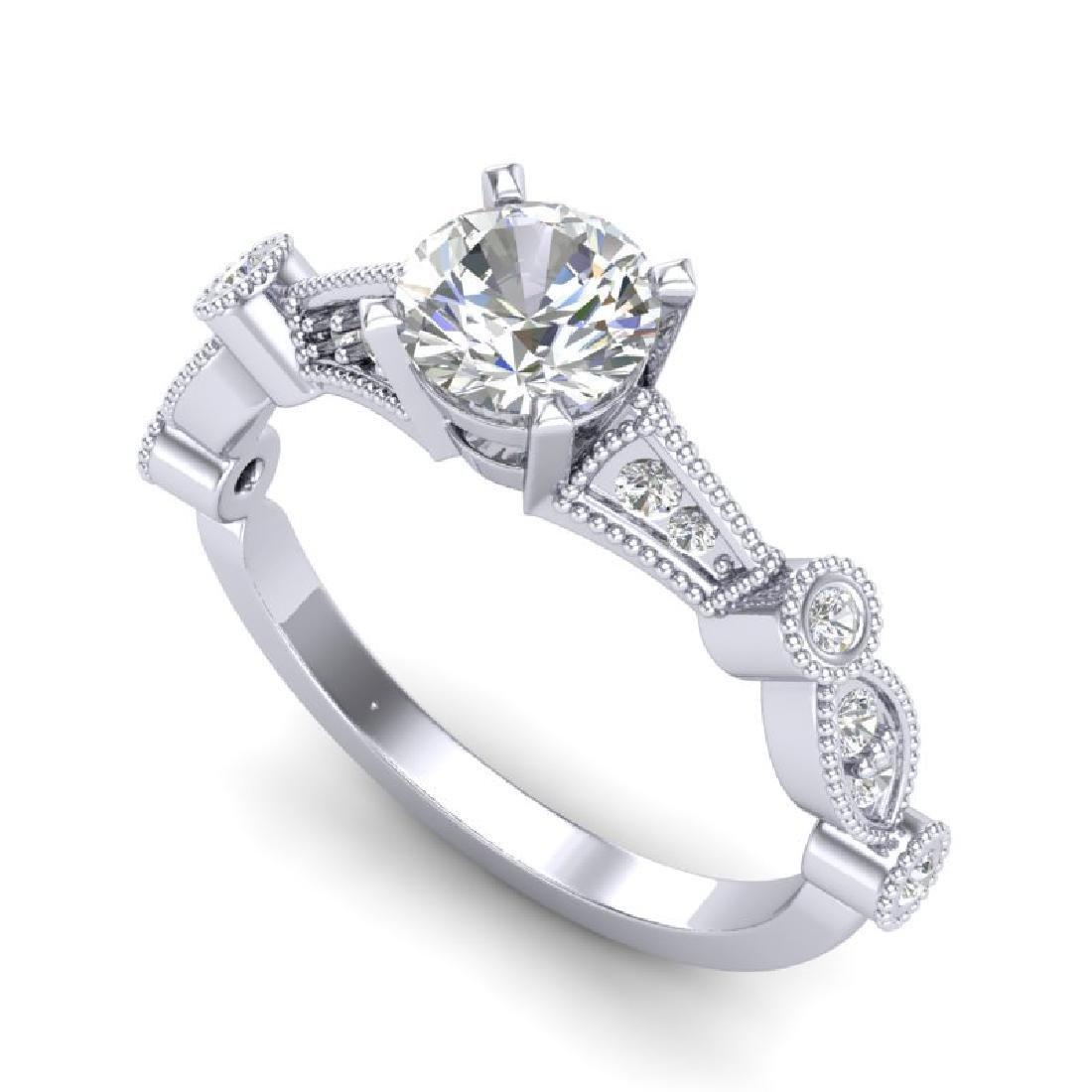 1.03 CTW VS/SI Diamond Art Deco Ring 18K White Gold