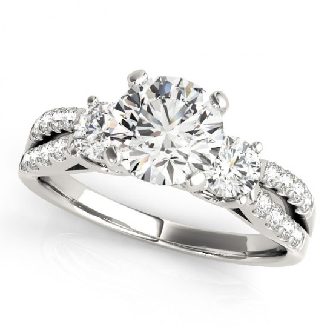 1.25 CTW Certified VS/SI Diamond 3 Stone Ring 18K White