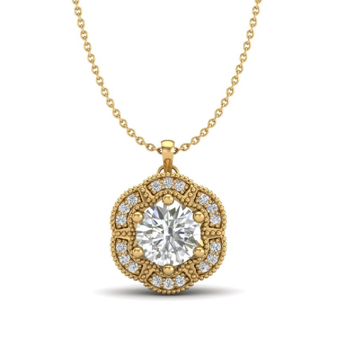 1.01 CTW VS/SI Diamond Solitaire Art Deco Necklace 18K