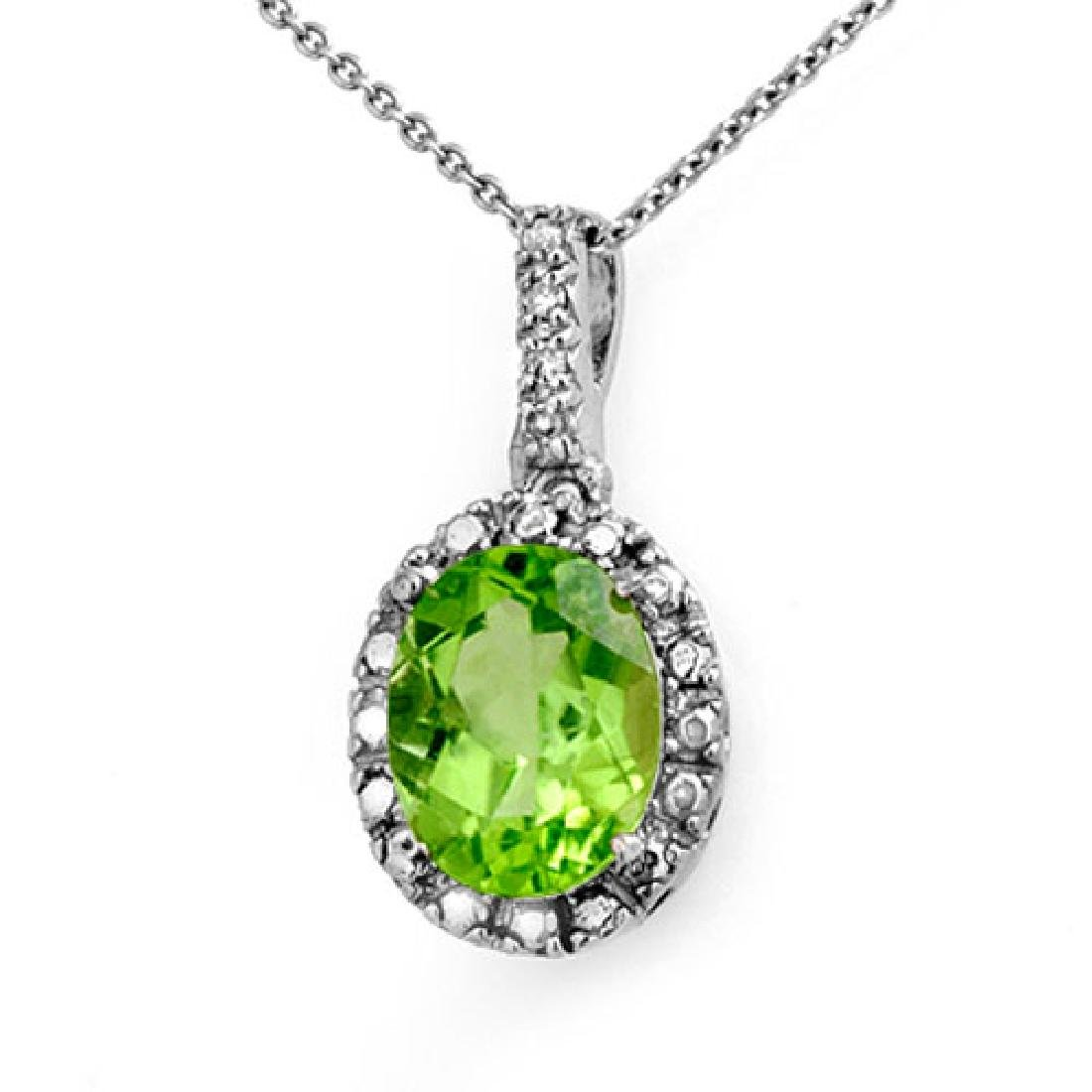 2.05 CTW Peridot & Diamond Pendant 10K White Gold