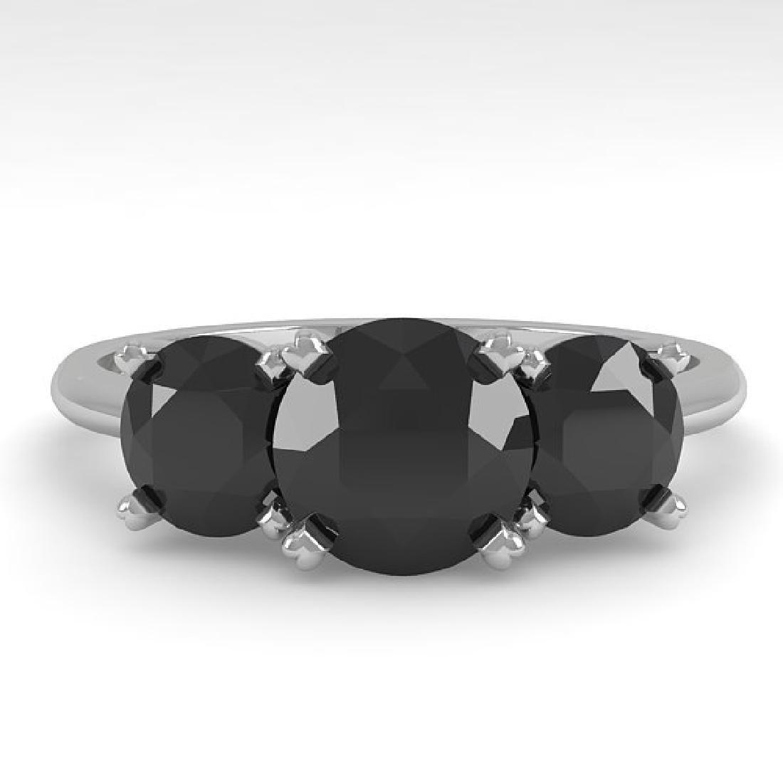 2 CTW Black Diamond Past Present Future Designer Ring