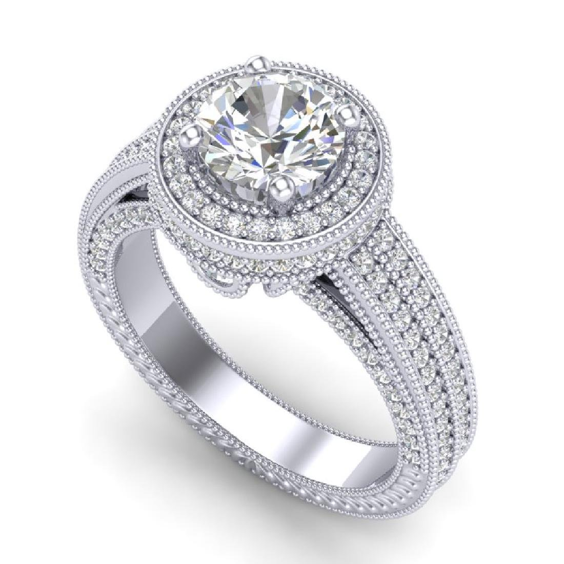 2.8 CTW VS/SI Diamond Solitaire Art Deco Ring 18K White