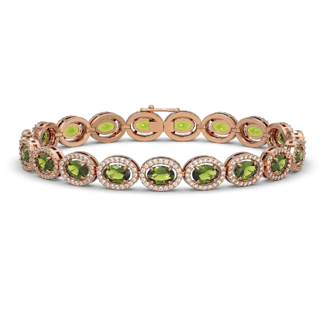 13.87 CTW Tourmaline & Diamond Halo Bracelet 10K Rose