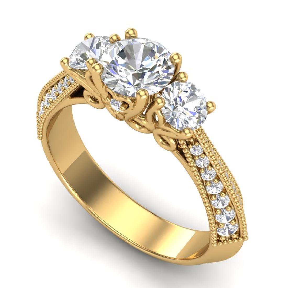 1.81 CTW VS/SI Diamond Art Deco 3 Stone Ring 18K Yellow
