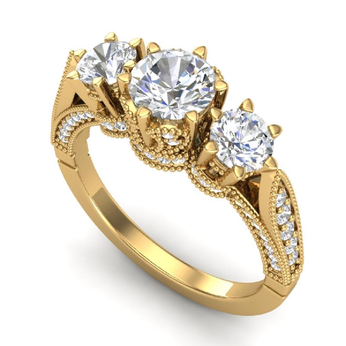2.18 CTW VS/SI Diamond Art Deco 3 Stone Ring 18K Yellow