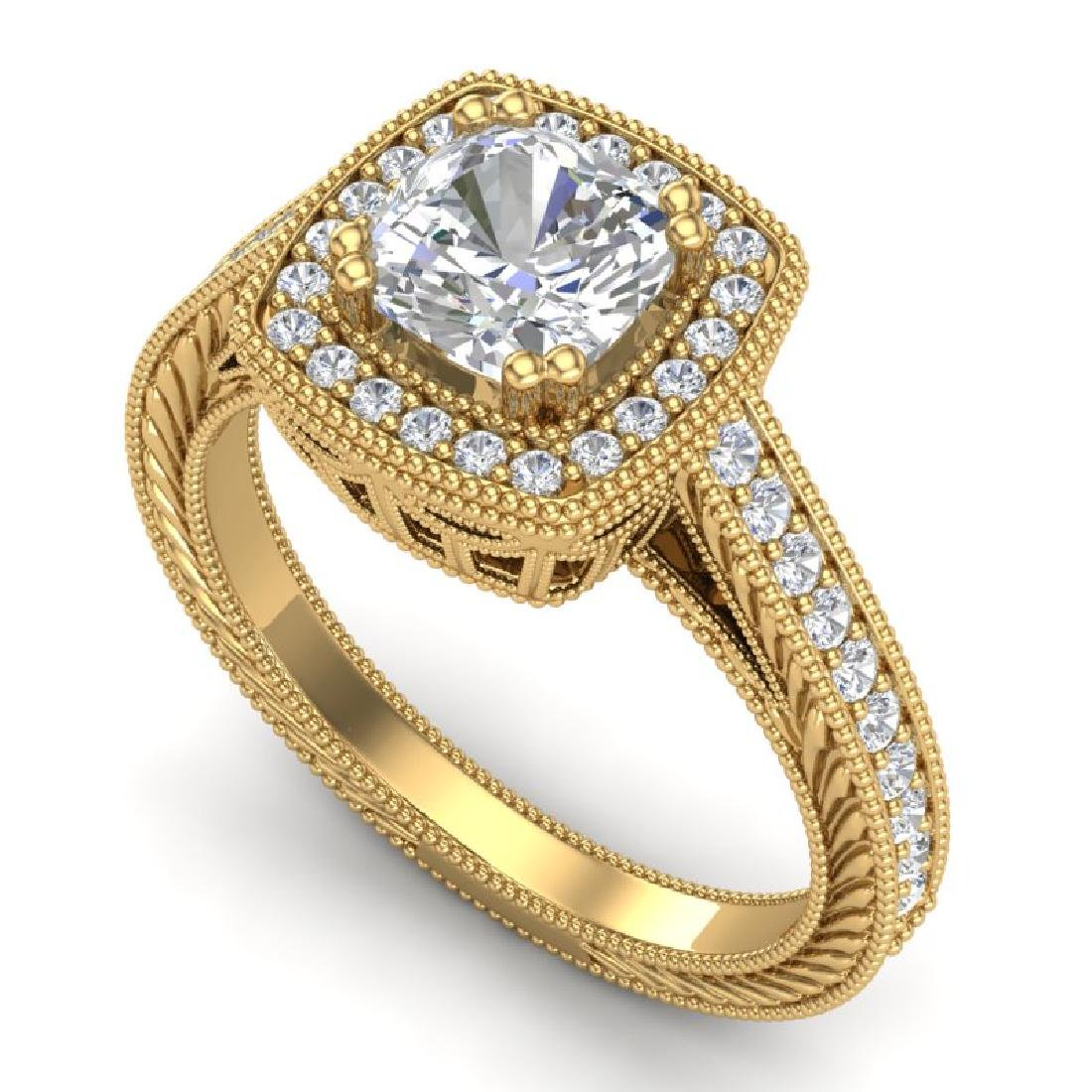 1.77 CTW Cushion VS/SI Diamond Art Deco Ring 18K Yellow
