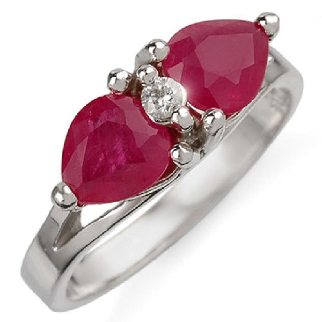 2.05 CTW Ruby & Diamond Ring 10K White Gold