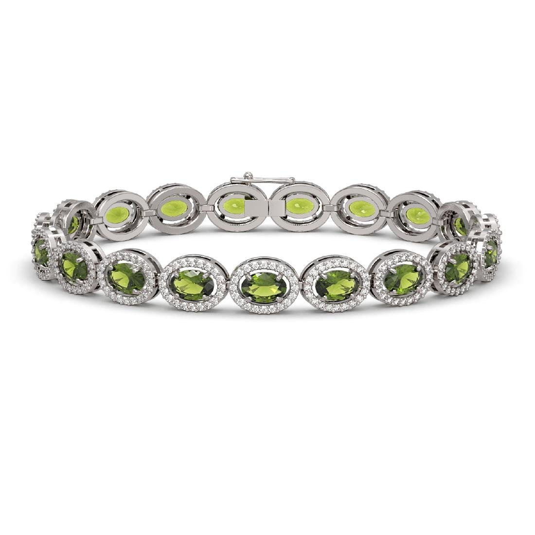 13.87 CTW Tourmaline & Diamond Halo Bracelet 10K White
