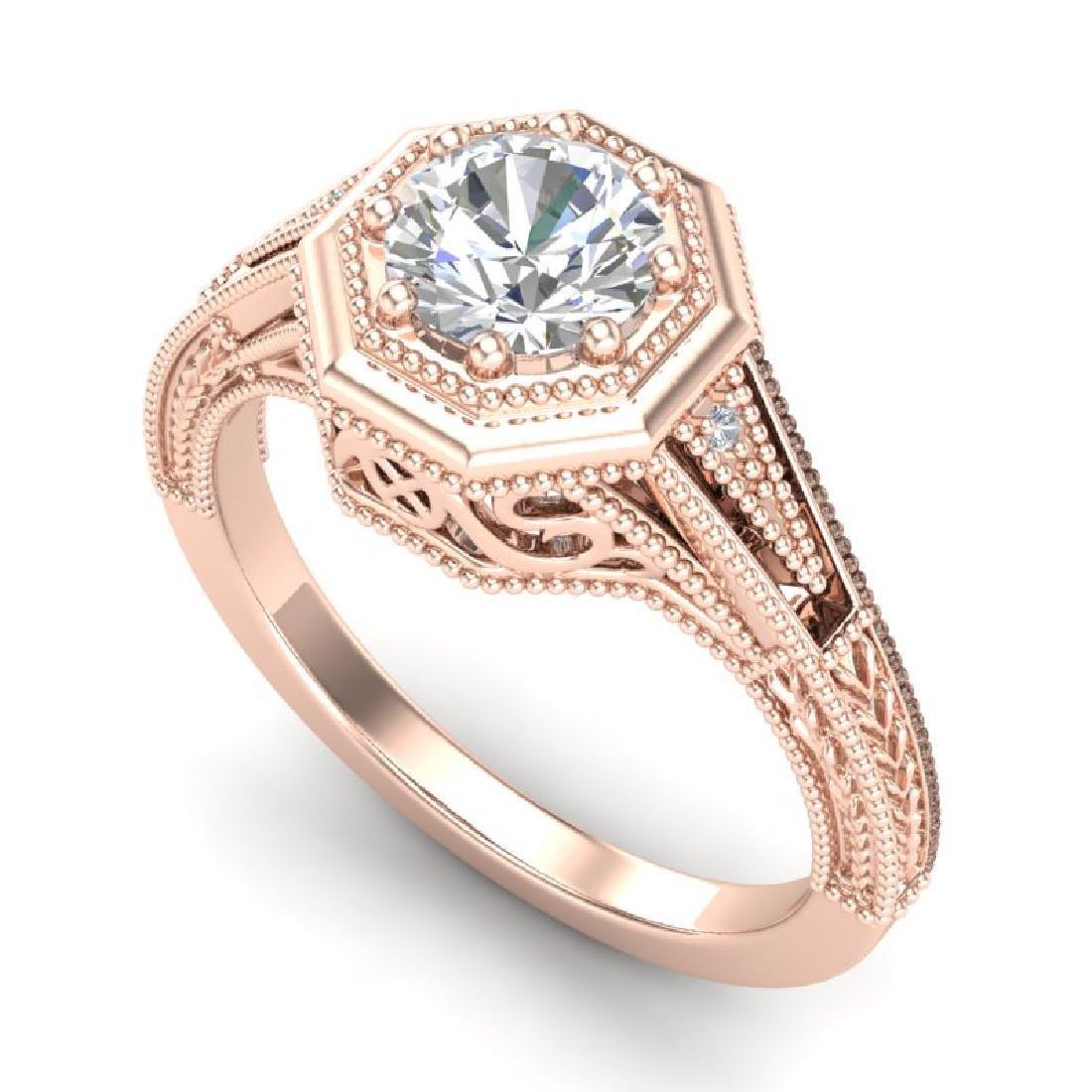 0.84 CTW VS/SI Diamond Solitaire Art Deco Ring 18K Rose