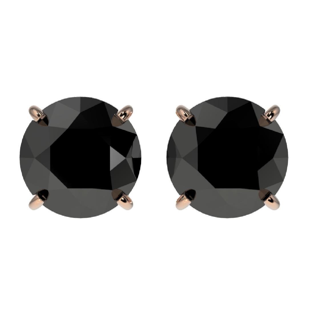 2.09 CTW Fancy Black VS Diamond Solitaire Stud Earrings