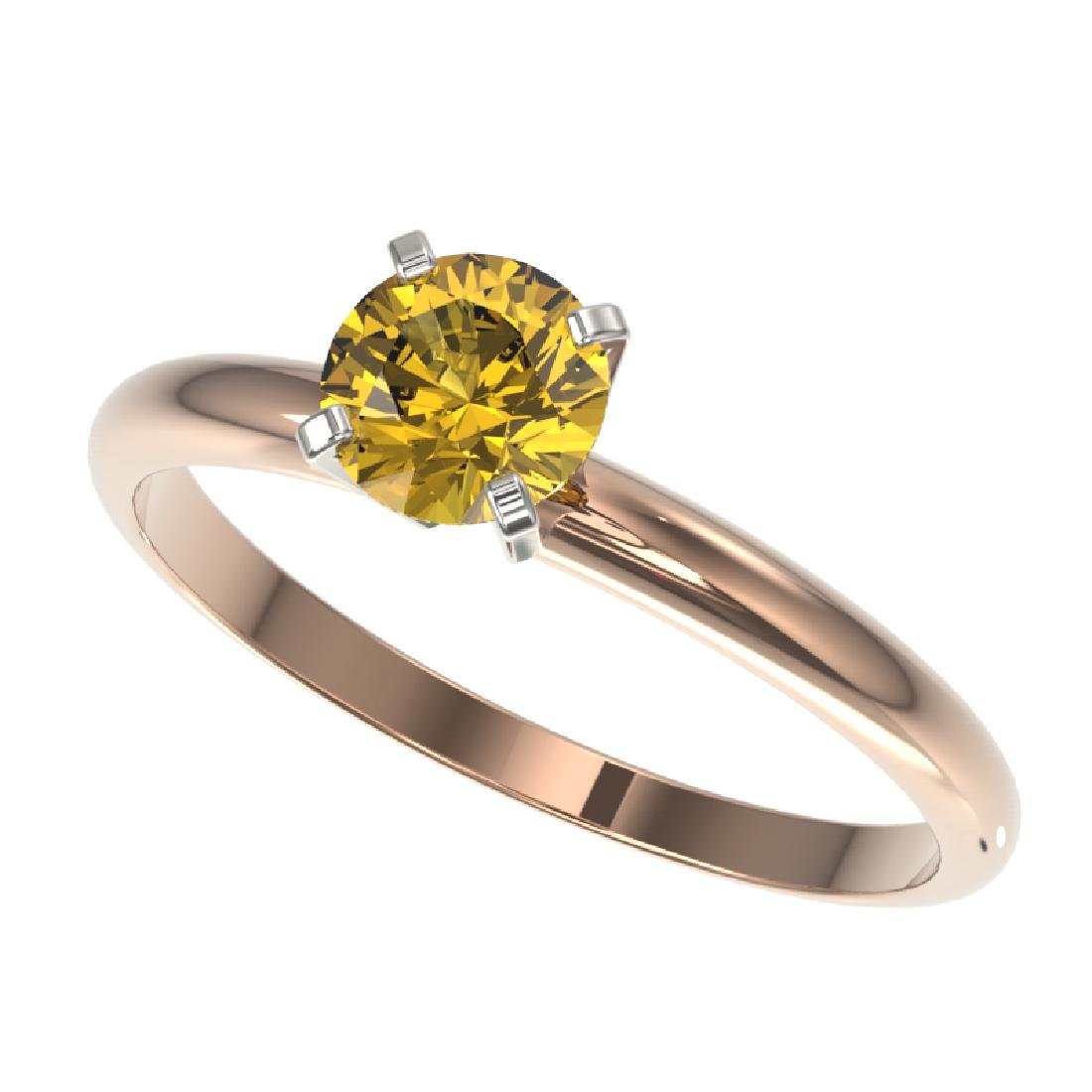 0.76 CTW Certified Intense Yellow SI Diamond Solitaire