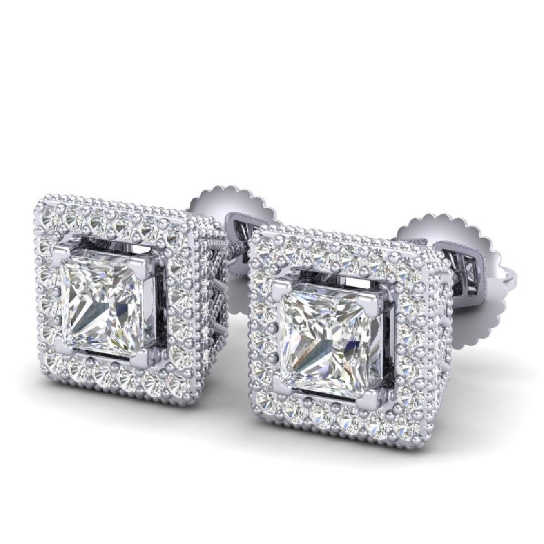 2.25 CTW Princess VS/SI Diamond Micro Pave Stud