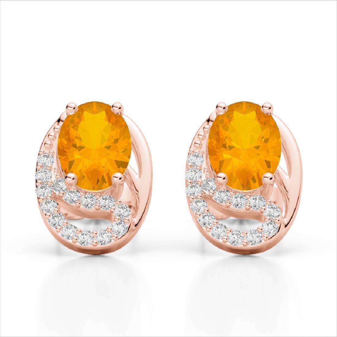 2.50 Citrine & Micro Pave VS/SI Diamond Stud Earrings