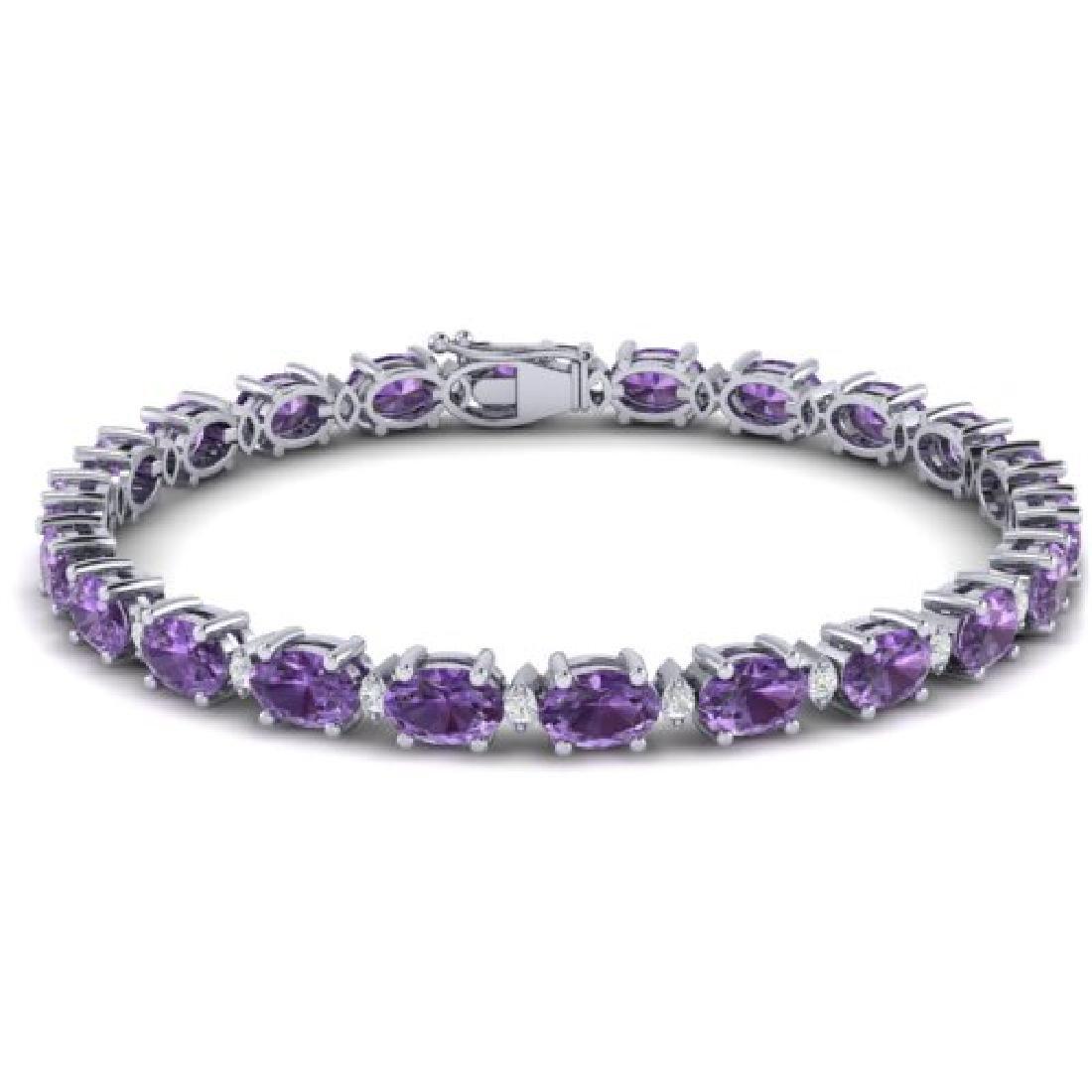 19.7 CTW Amethyst & VS/SI Certified Diamond Eternity