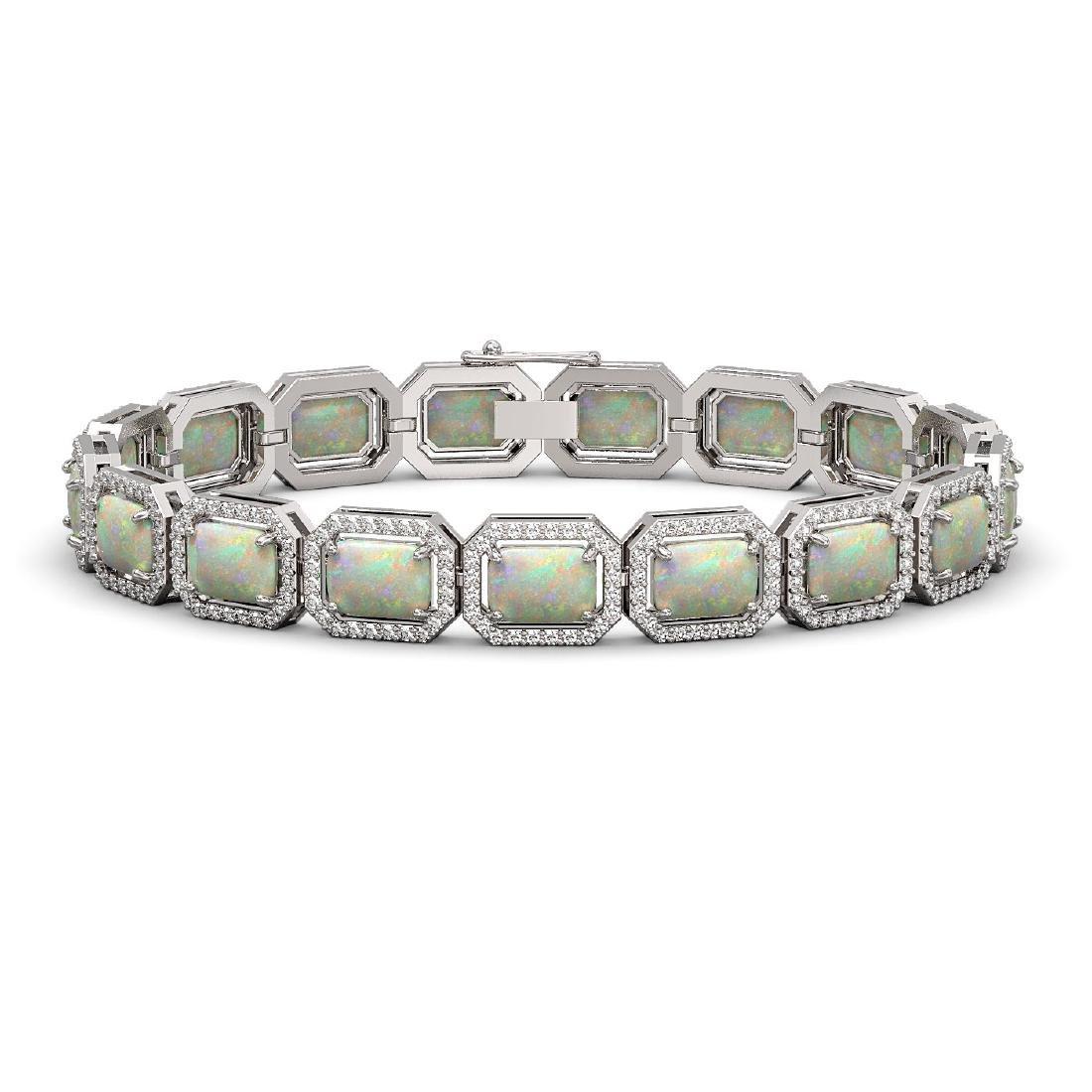 16.86 CTW Opal & Diamond Halo Bracelet 10K White Gold