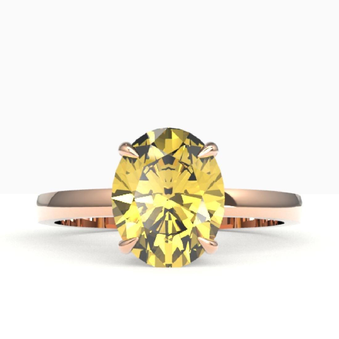 2.50 CTW Citrine Designer Inspired Solitaire Ring 14K