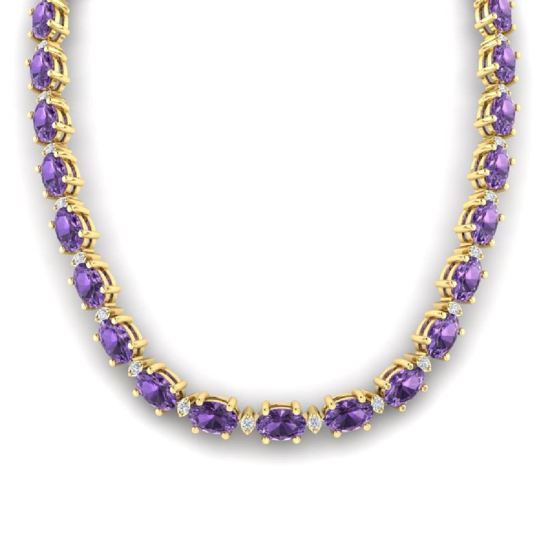 46.5 CTW Amethyst & VS/SI Certified Diamond Eternity